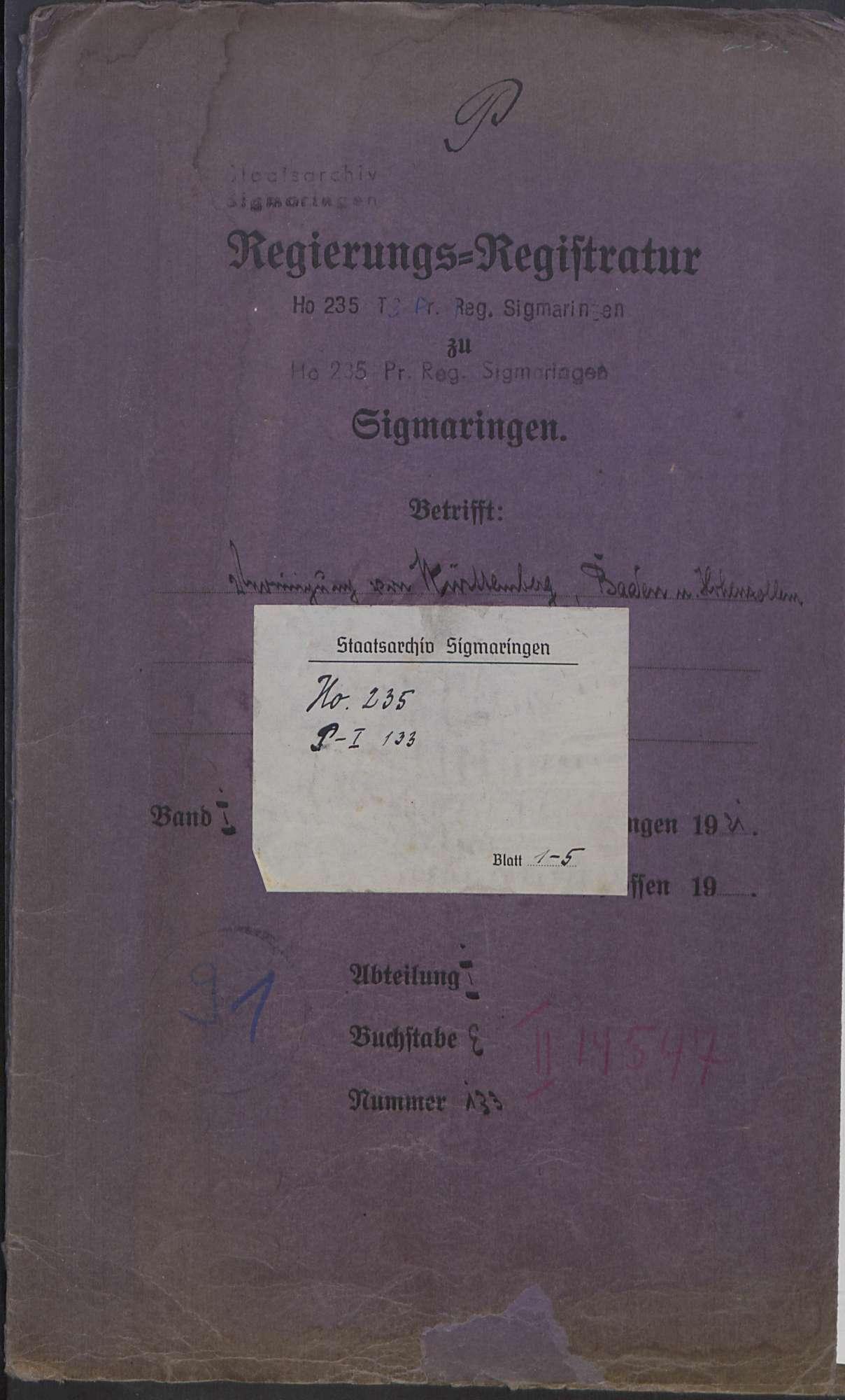 Beabsichtigte Vereinigung von Württemberg, Baden und Hohenzollern, Bild 1
