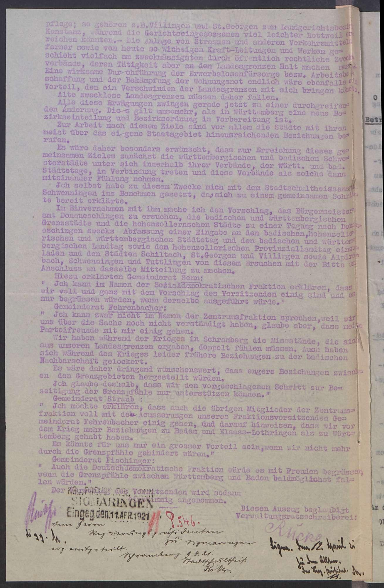 Beabsichtigte Vereinigung von Württemberg, Baden und Hohenzollern, Bild 3