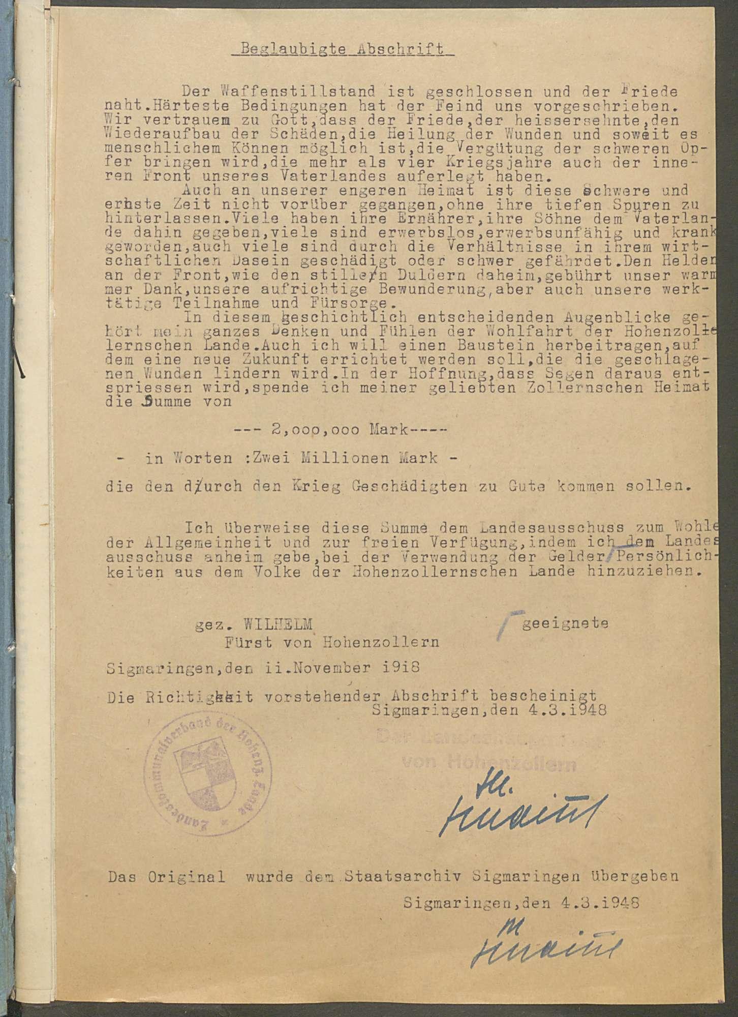 Fürst Wilhelm-Spende zu Gunsten der durch den Krieg Geschädigten - Bd. 1, Bild 2