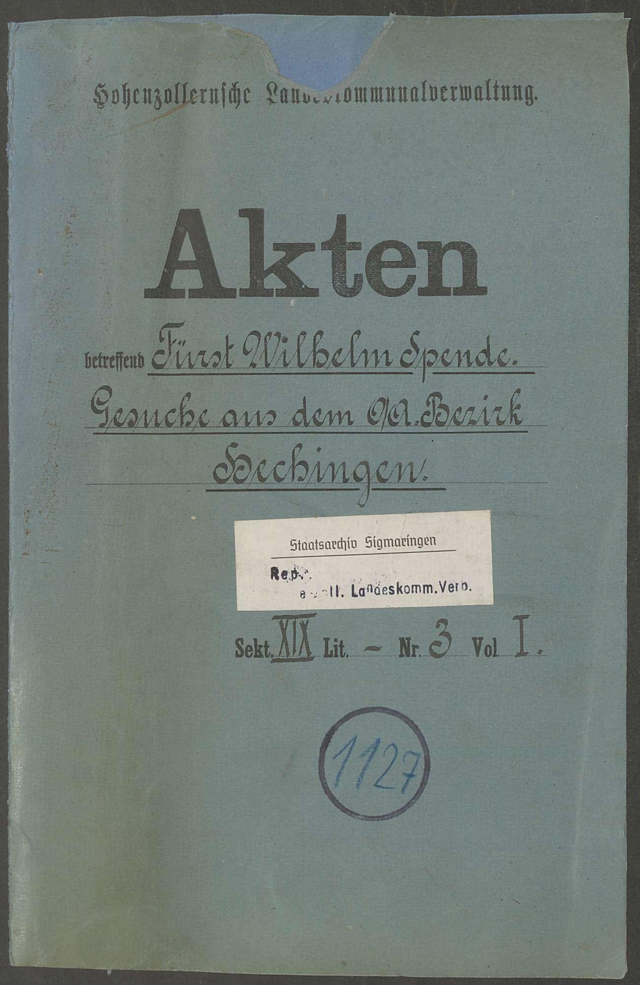 Fürst Wilhelm-Spende zu Gunsten der durch den Krieg Geschädigten in Hechingen - Bd. 1, Bild 1
