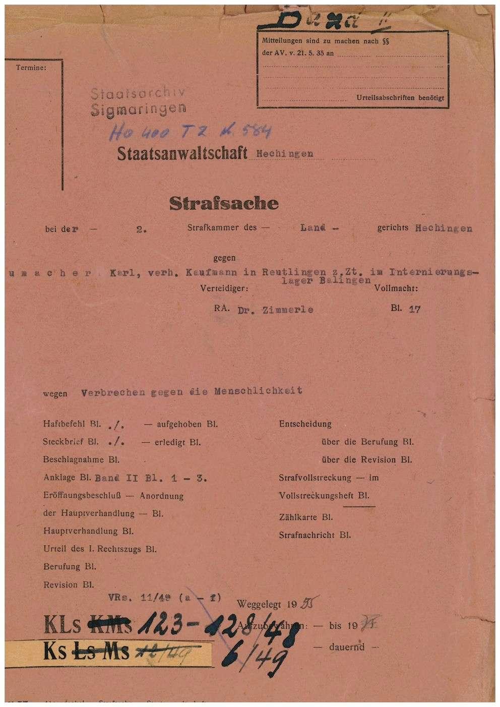 Schumacher, Karl, Kaufmann, Reutlingen, Bild 1