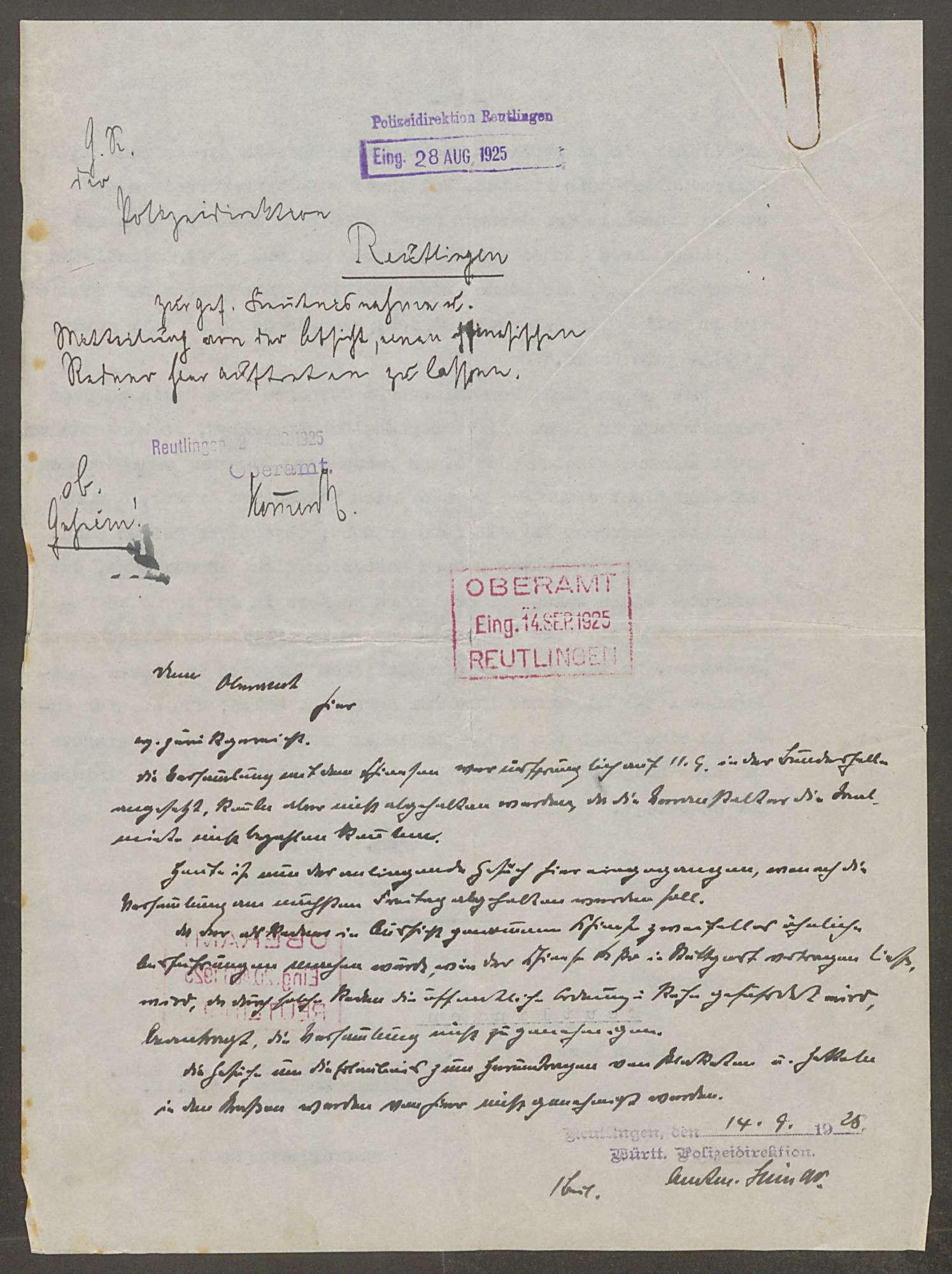 Versammlungen der Internationalen Arbeiterhilfe im Oberamt Reutlingen - Verbot für ausländische Redner, Bild 1