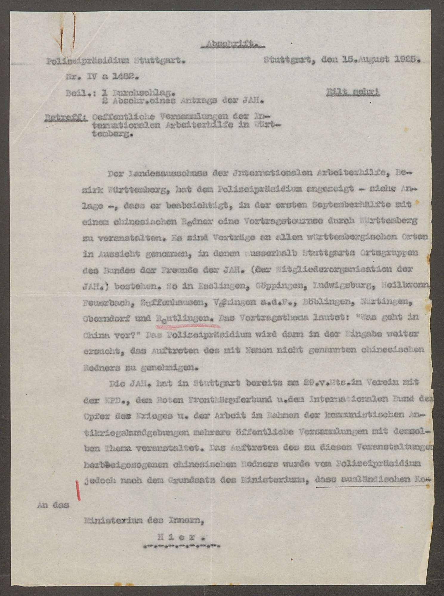 Versammlungen der Internationalen Arbeiterhilfe im Oberamt Reutlingen - Verbot für ausländische Redner, Bild 3
