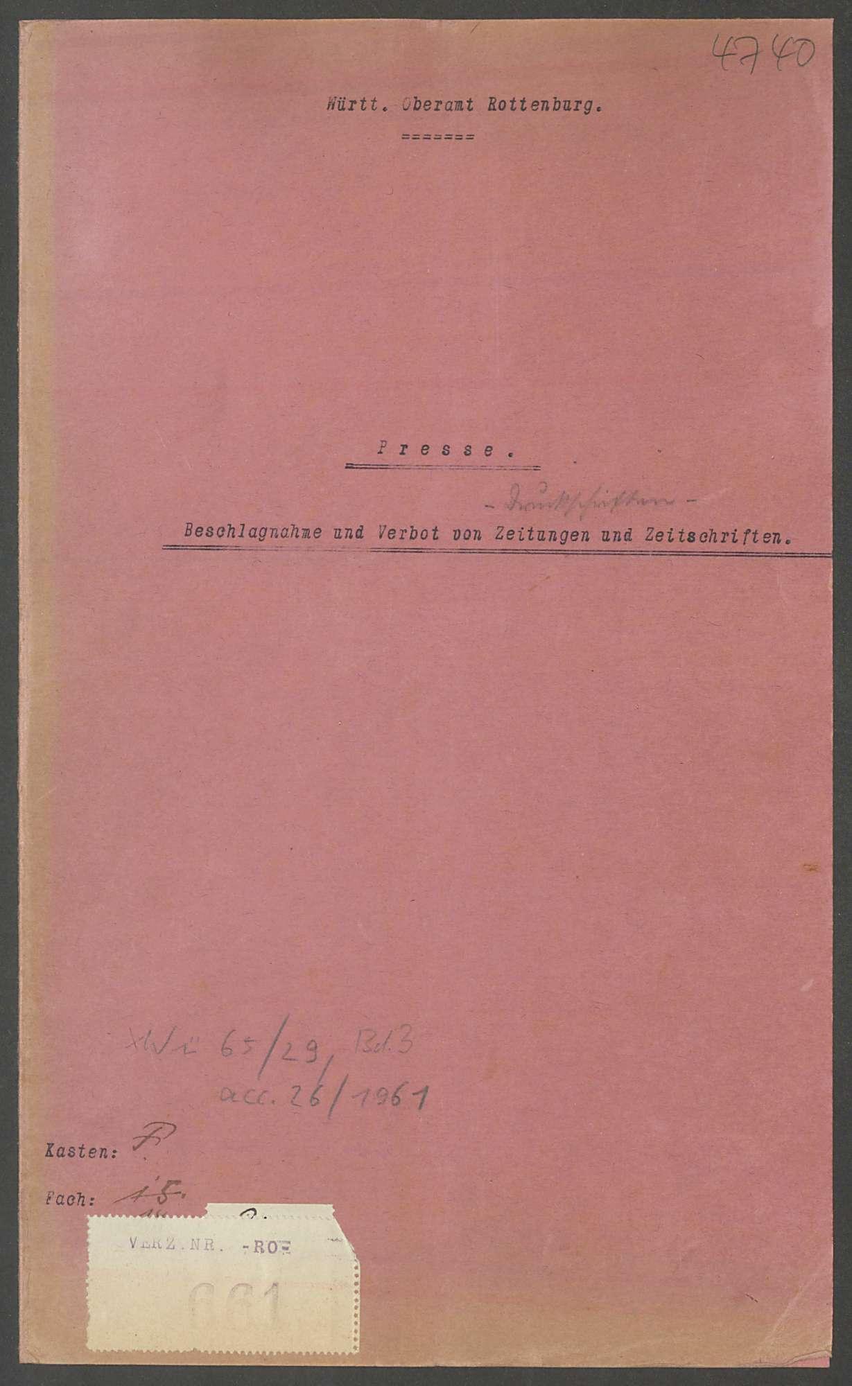 Beschlagnahme von Zeitschriften etc., Verbote, Bild 1