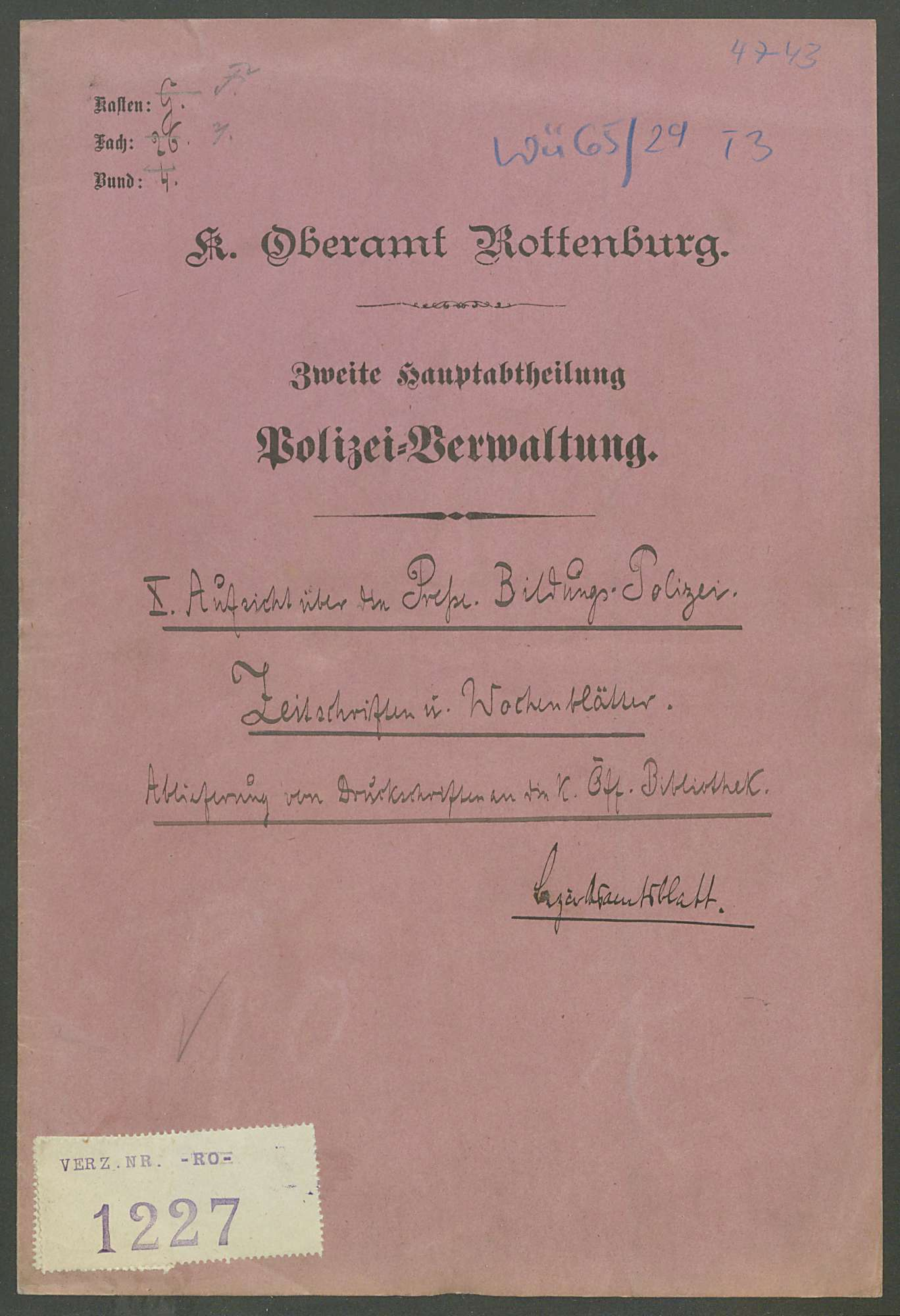 Aufsicht über die Presse: Zeitschriften und Wochenblätter, Bezirksamtblatt, Bild 1