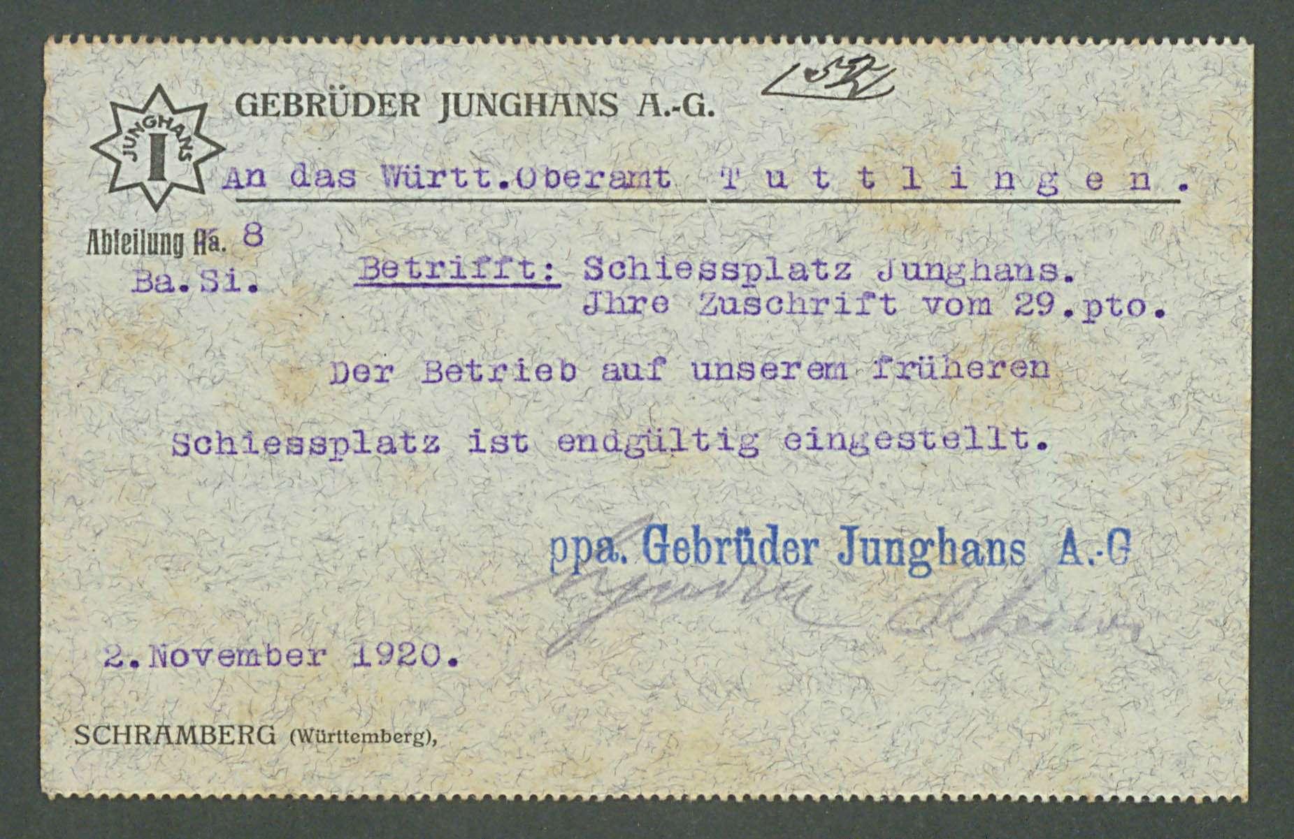 Errichtung einer Schießplatzanlage der Firma Gebrüder Junghans in Schramberg, Bild 1