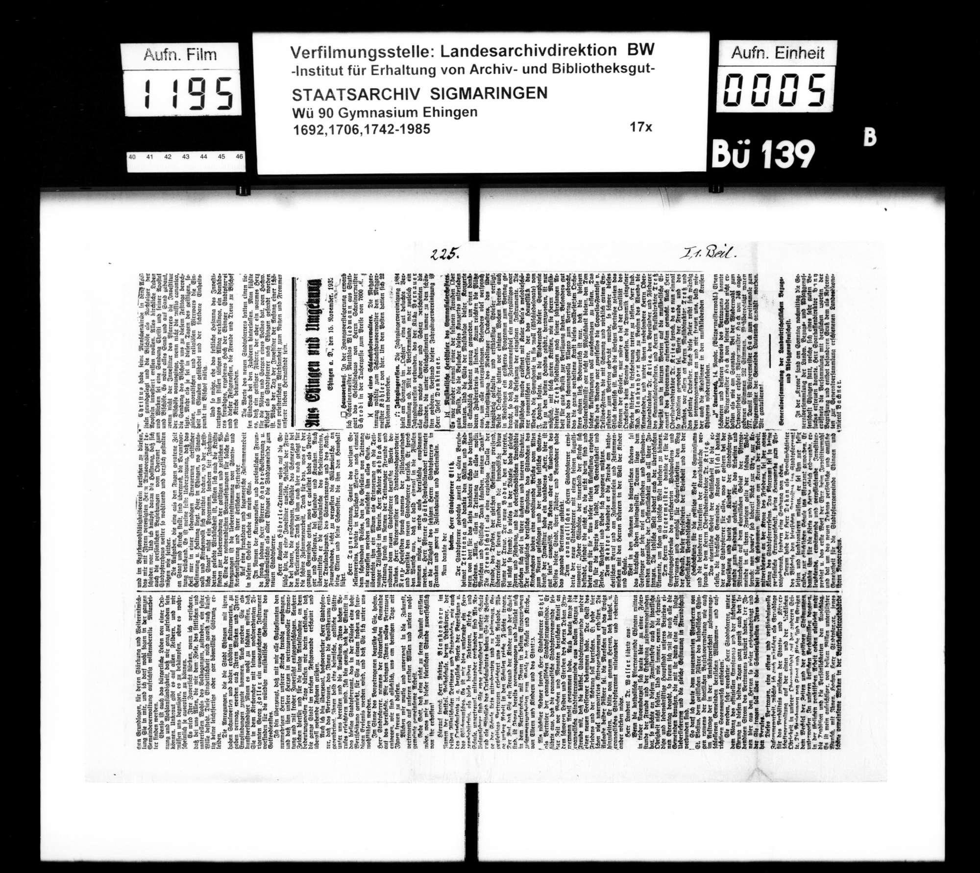 Materialien zur Schulgeschichte (v.a. Zeitungsberichte), Bild 3