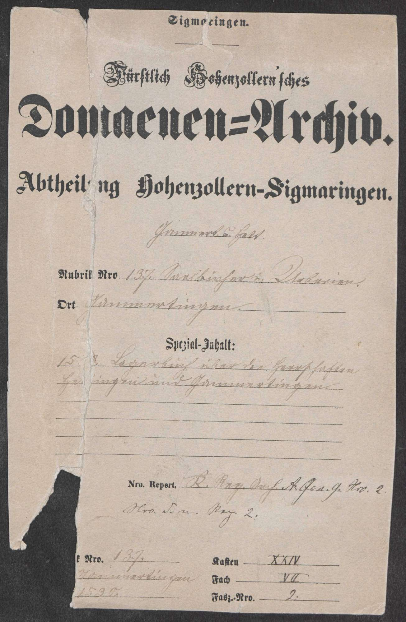 Gammertingen: Lagerbuch über die Herrschaften Gammertingen und Hettingen, Bild 1