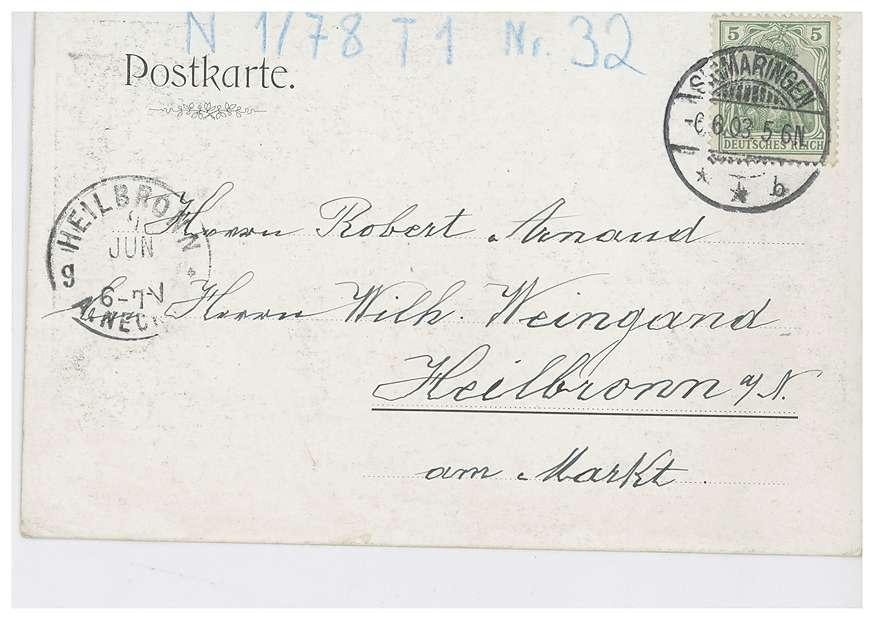 Schloss Sigmaringen und Donau - Werbung für den XII. Fischereitag in Sigmaringen am 7. Juni 1903 mit Abbildungen des Fürsten Leopold von Hohenzollern, des Königs Wilhelm II. von Württemberg sowie eines Fischers, Bild 2