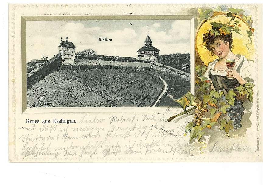 Burg in Esslingen, Ansicht mit koloriert gezeichneter Dame mit Weinglas, Bild 1