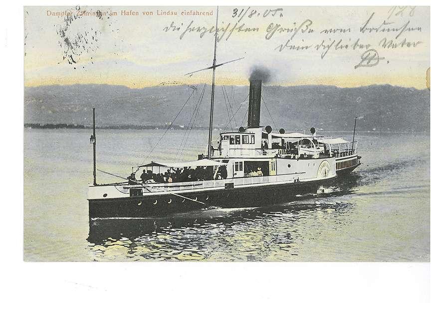 """Dampfer """"Zähringen"""" auf dem Bodensee, im Hafen von Lindau einfahrend, 1905 [Quelle: Landesarchiv BW, Abt. Staatsarchiv Sigmaringen]"""