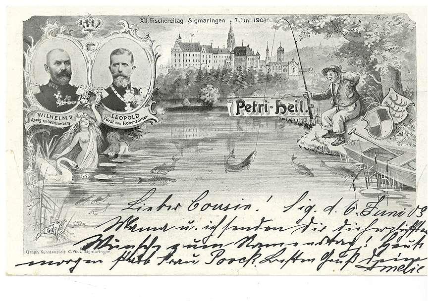 Schloss Sigmaringen und Donau - Werbung für den XII. Fischereitag in Sigmaringen am 7. Juni 1903 mit Abbildungen des Fürsten Leopold von Hohenzollern, des Königs Wilhelm II. von Württemberg sowie eines Fischers, Bild 1