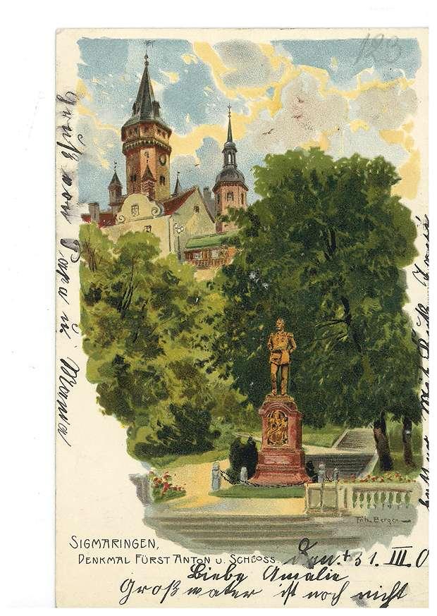 Denkmal des Fürsten Karl Anton von Hohenzollern und Schloss Sigmaringen, Bild 1