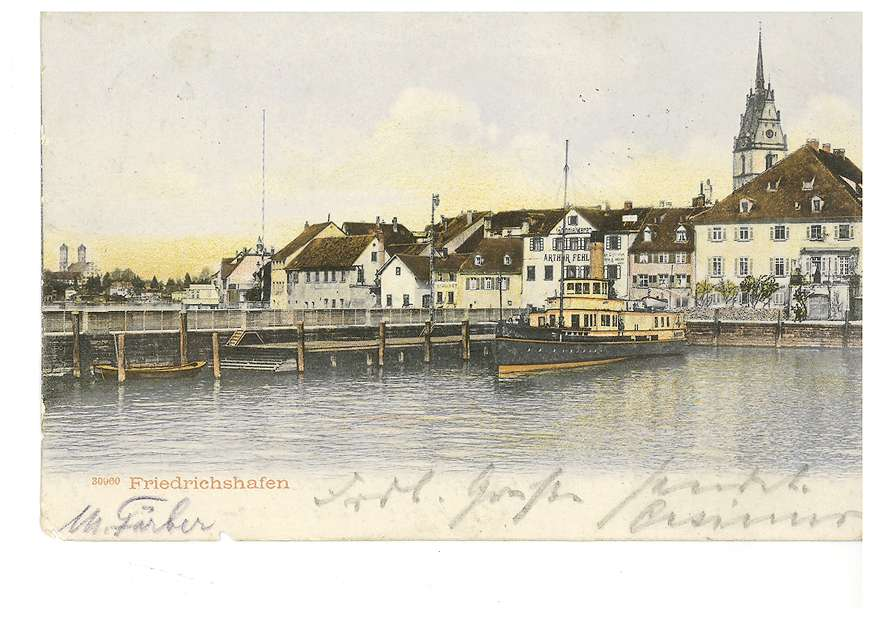 Stadtansicht von Friedrichshafen mit dem Bodensee und einem Schiff, 1904 [Quelle: Landesarchiv BW, Abt. Staatsarchiv Sigmaringen]