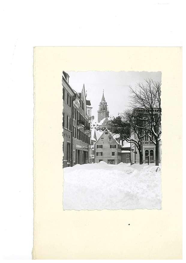 Leopoldplatz in Sigmaringen im Winter, im Hintergrund das Schloss, Bild 1