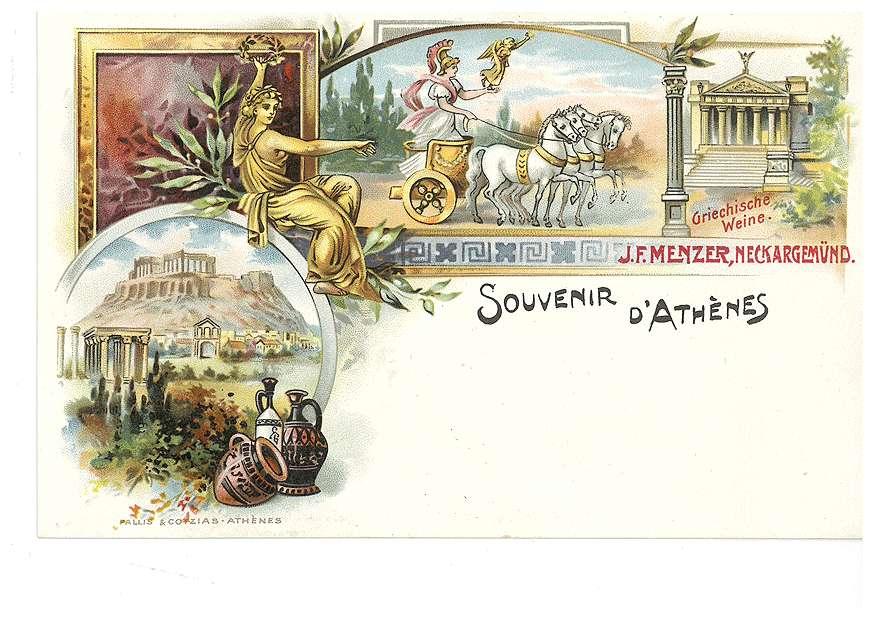 """Athen - Aufschrift: """"Griechische Weine. J. F. Menzer, Neckargemünd"""", Bild 1"""