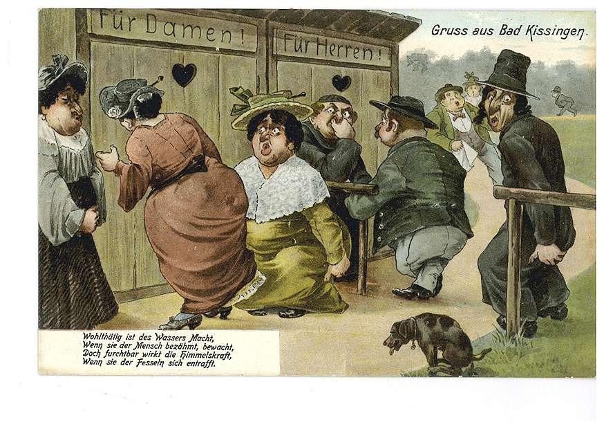 """Toilettenhäuschen mit den Aufschriften """"Für Damen!"""" und """"Für Herren!"""" in Bad Kissingen - Aufschrift: """"Wohlthätig ist des Wassers Macht, wenn sie der Mensch bezähmt, bewacht, doch furchtbar wirkt die Himmelskraft, wenn sie der Fesseln sich entrafft"""" - Humorkarte, Bild 1"""