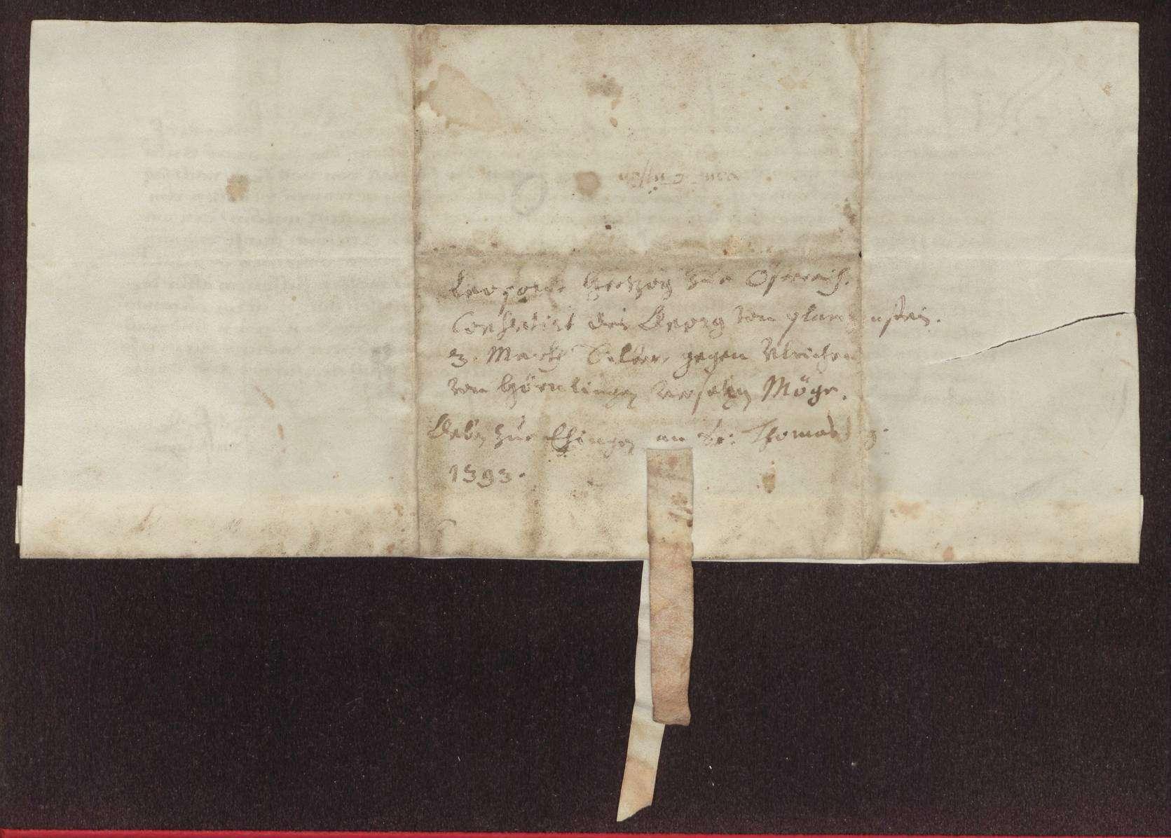 Herzog Leopold (IV.) (Lupolt) zu Österreich gibt dem Jörg von Blankenstein die erbetene Einwilligung, die 3 Mark Silbergeld Konstanzer (Chostentzer) Gewichts auf der Vogtei des Ausstellers zu Rißtissen (?) (Tussen), die ihm vom Austeller laut den Briefen, die er von dessen Vorfahren darüber hat, versetzt sind, an Ulrich von Hoernling für 160 Gulden zu versetzen., Bild 2