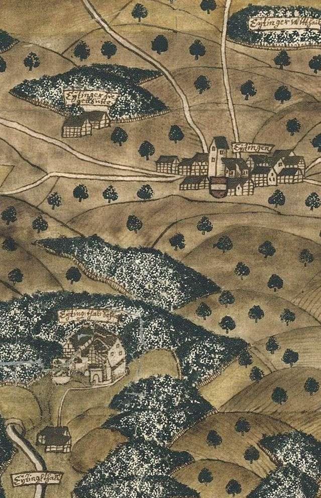 Eutingen mit Ziegelhütte, Burg Eutingertal und Unterem Eutinger Talhof, Bild 1