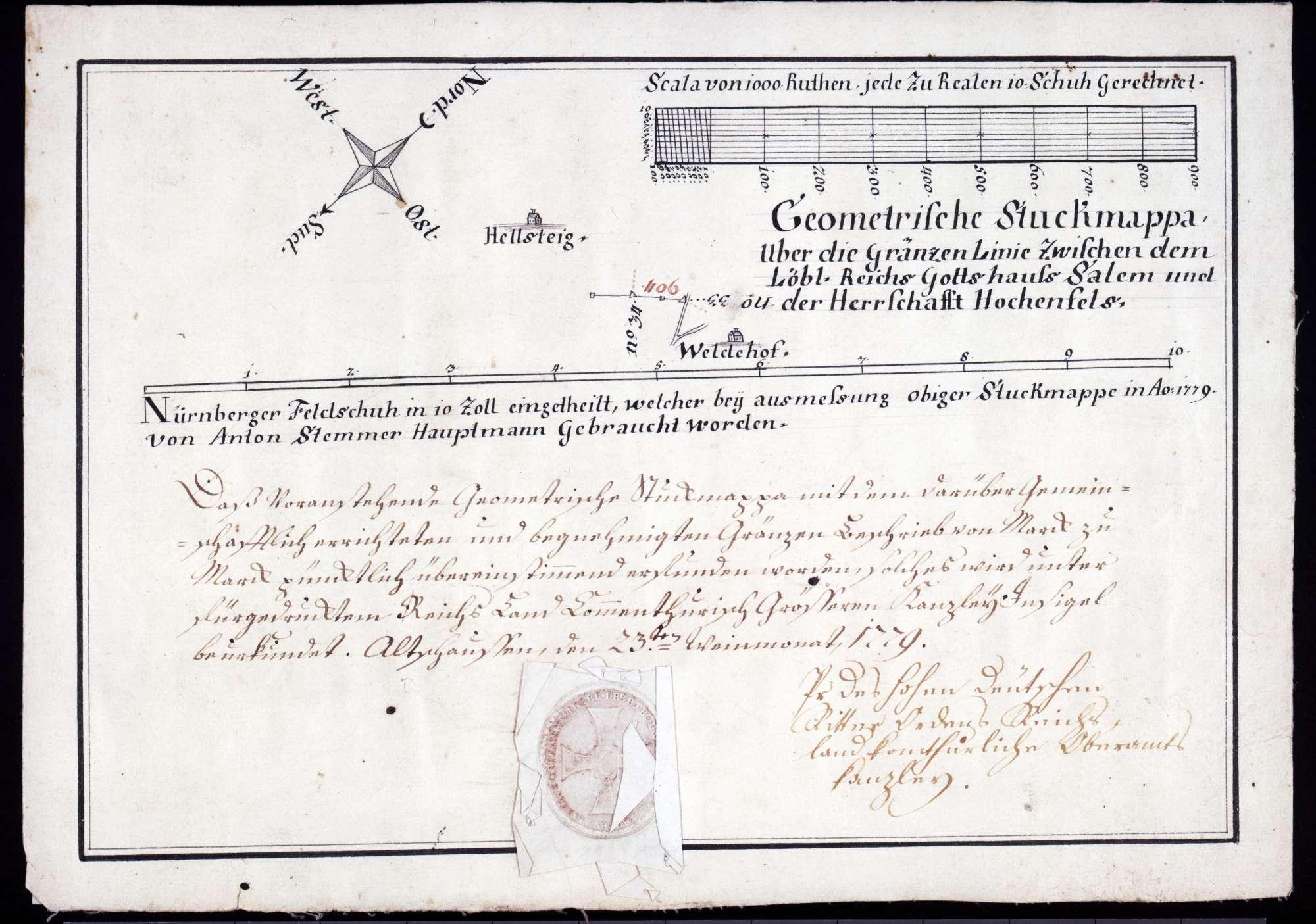 """Geometrische """"Stuckmappa"""" über die Grenzlinie zwischen dem Reichsgotteshaus Salem und der Herrschaft Hohenfels, Bild 1"""