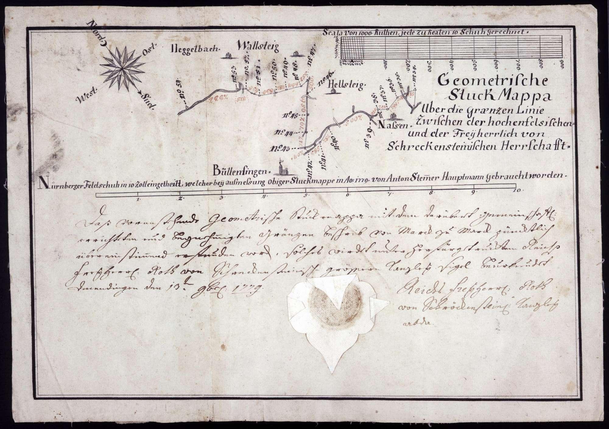"""Geometrische """"Stuckmappa"""" über die Grenzlinie zwischen der Herrschaft Hohenfels und der Herrschaft Schreckenstein, Bild 1"""