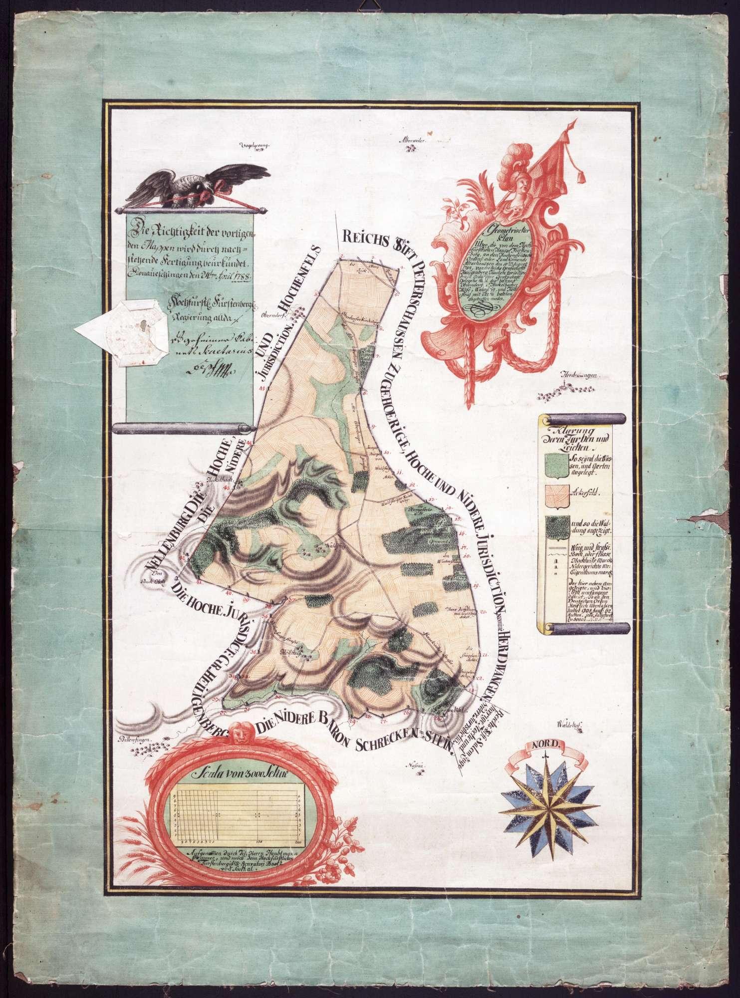 Geometrischer Plan über die Abtretung der in der Grafschaft Heiligenberg gelegenen Markungen, von Oberndorf, Heggelbach, Waldsteig und Höllsteig durch das Haus Fürstenberg an die Kommende Altshausen, Bild 1