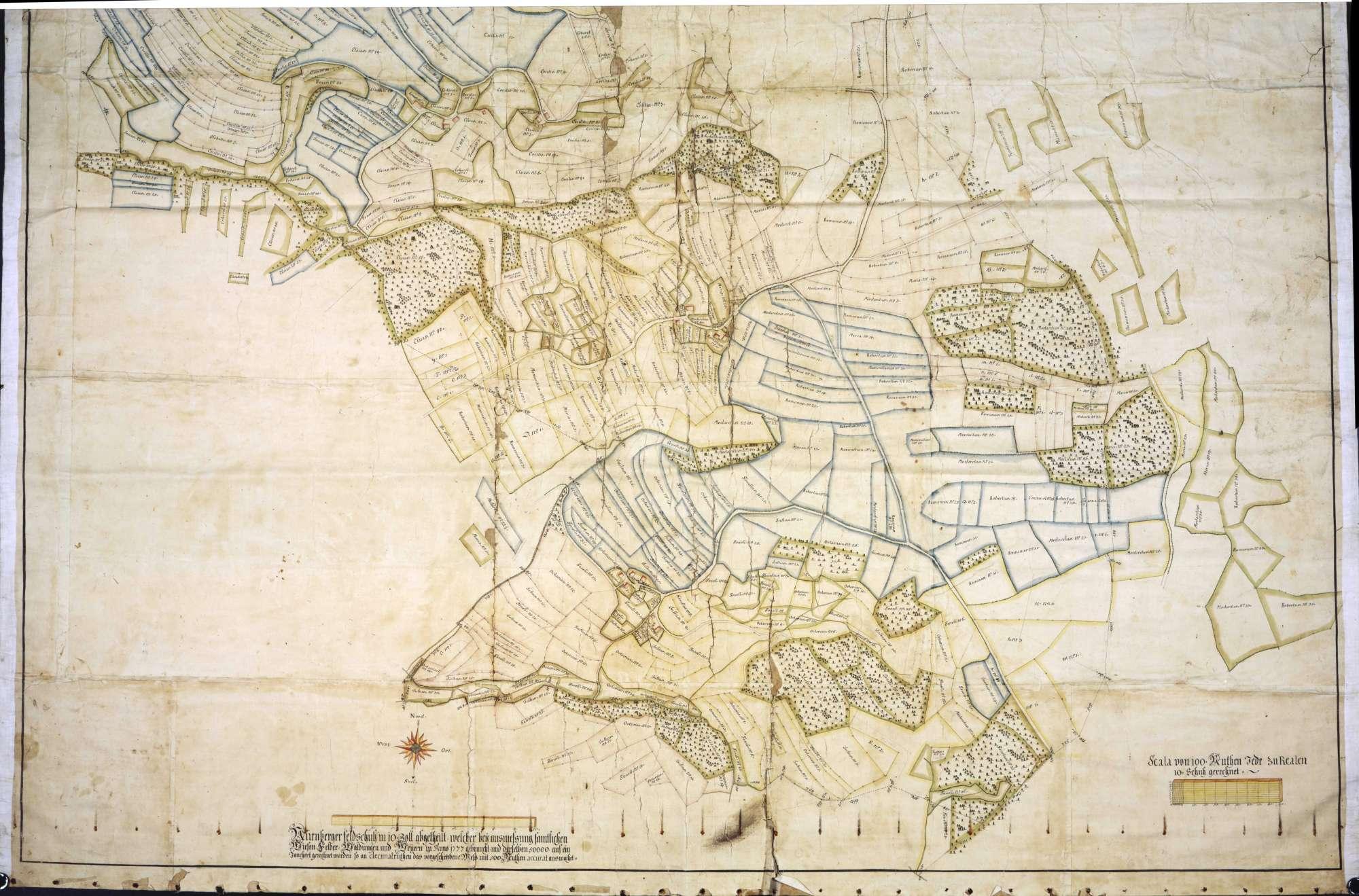 """Geometrische """"Mappa"""" über den Bann zu Breitenerlen, Heggelbach, Höllsteig und Waldsteig, Bild 2"""