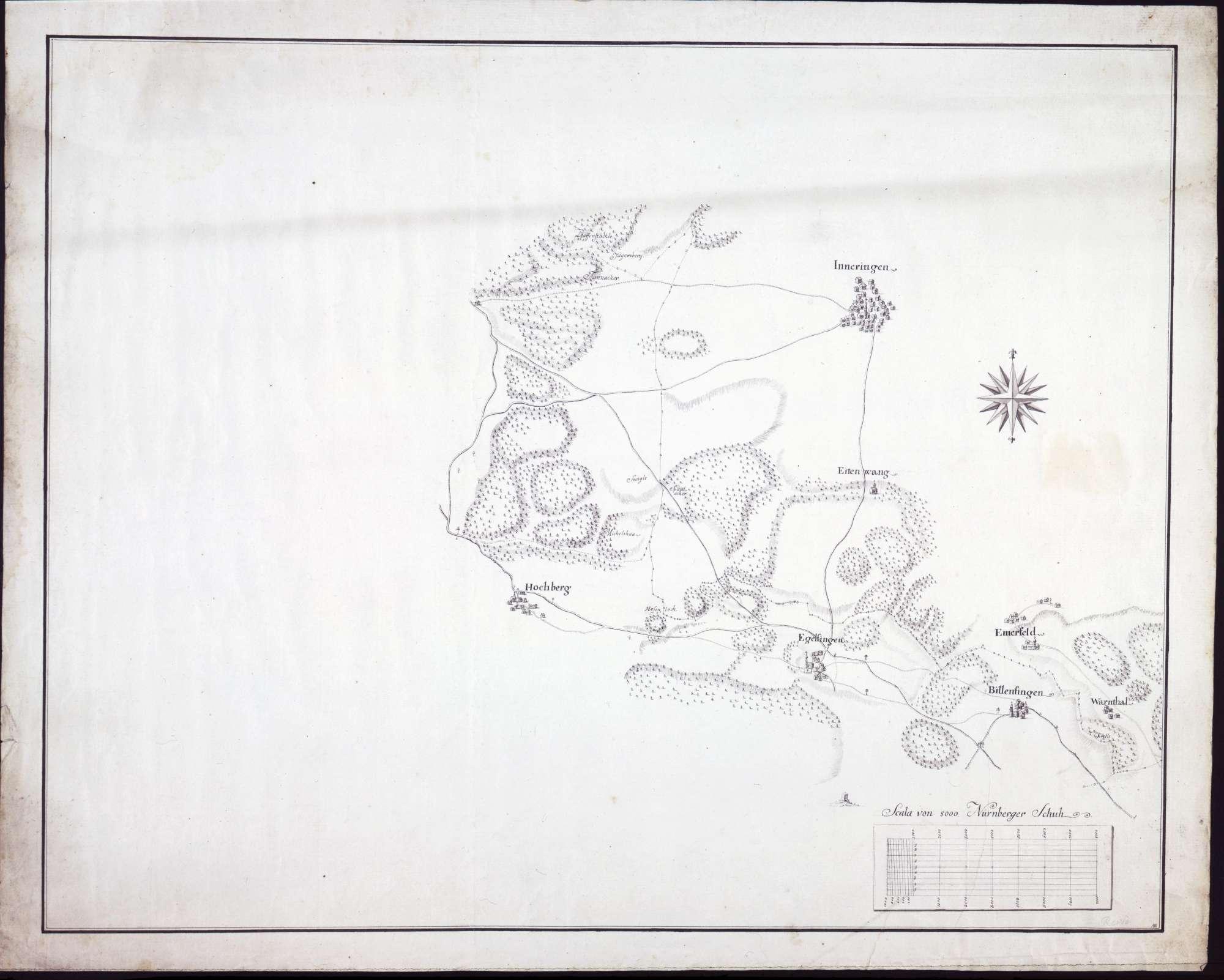 Lageplan von Inneringen, Hochberg, Egelfingen, Billafingen, Warmtal (Warnthal) und Emerfeld (Ehmerfeld), Bild 1