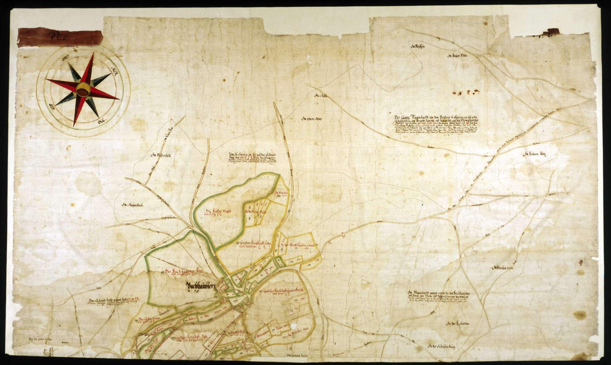 Karte über die Gemarkungen von Bachhaupten, Eschendorf, Tafertsweiler und Gunzenhausen, Bild 1