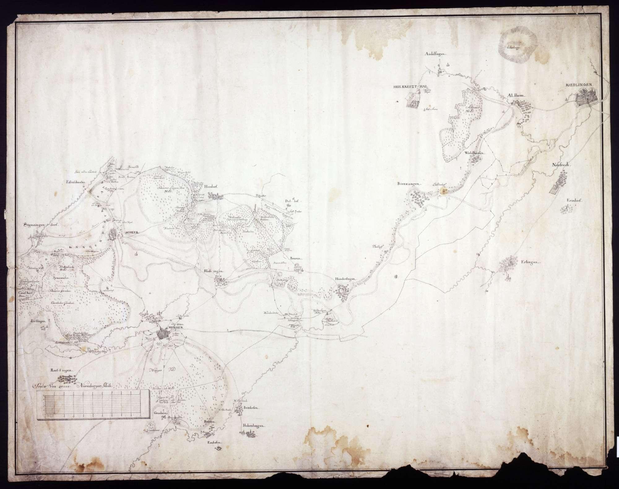 Lageplan für das Gebiet von Sigmaringendorf bis Riedlingen, Bild 1