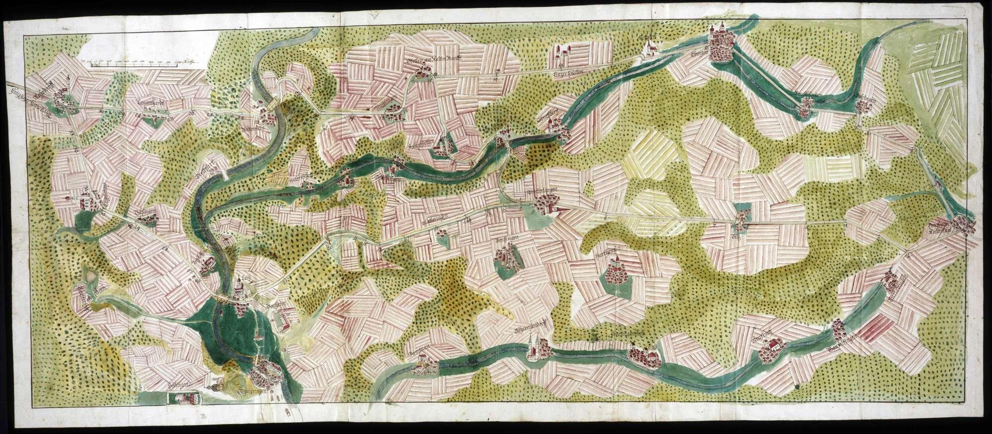 Karte der Straße von Ebingen über Winterlingen und Laiz nach Meßkirch, Bild 1