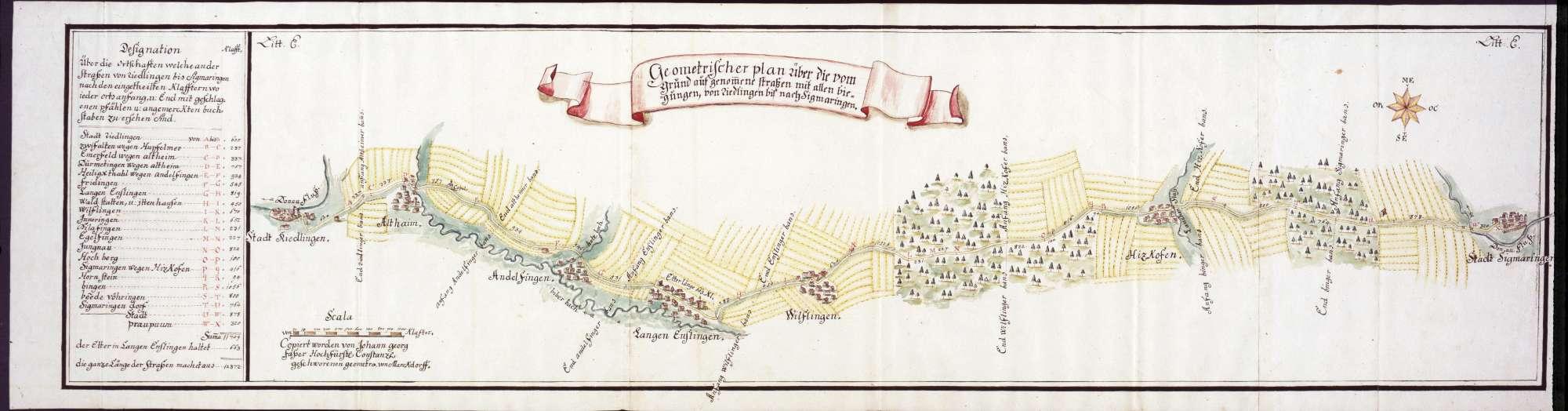 Geometrischer Plan der Straße von Riedlingen über Langenenslingen und Hitzkofen nach Sigmaringen, mit Entfernungsangabe von Ort zu Ort, Bild 1