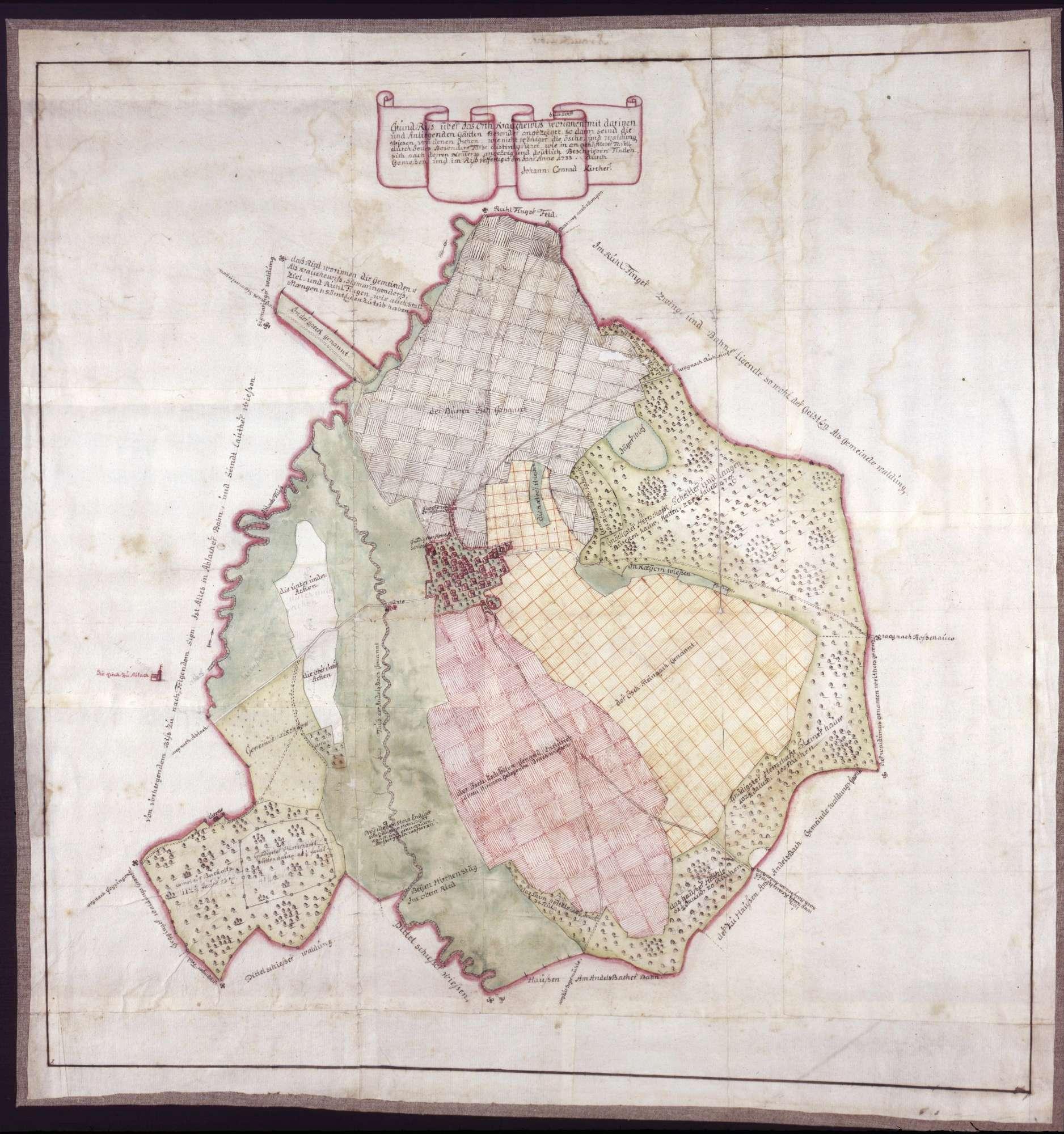 Grundriss des Ortes und der Gemarkung Krauchenwies, Bild 1