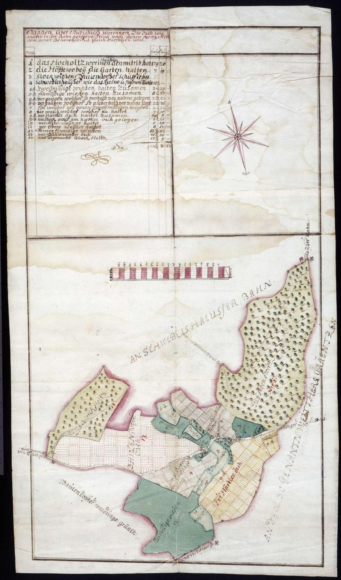 """""""Mappen über Mottschieß"""" - Gemarkungskarte, Bild 1"""
