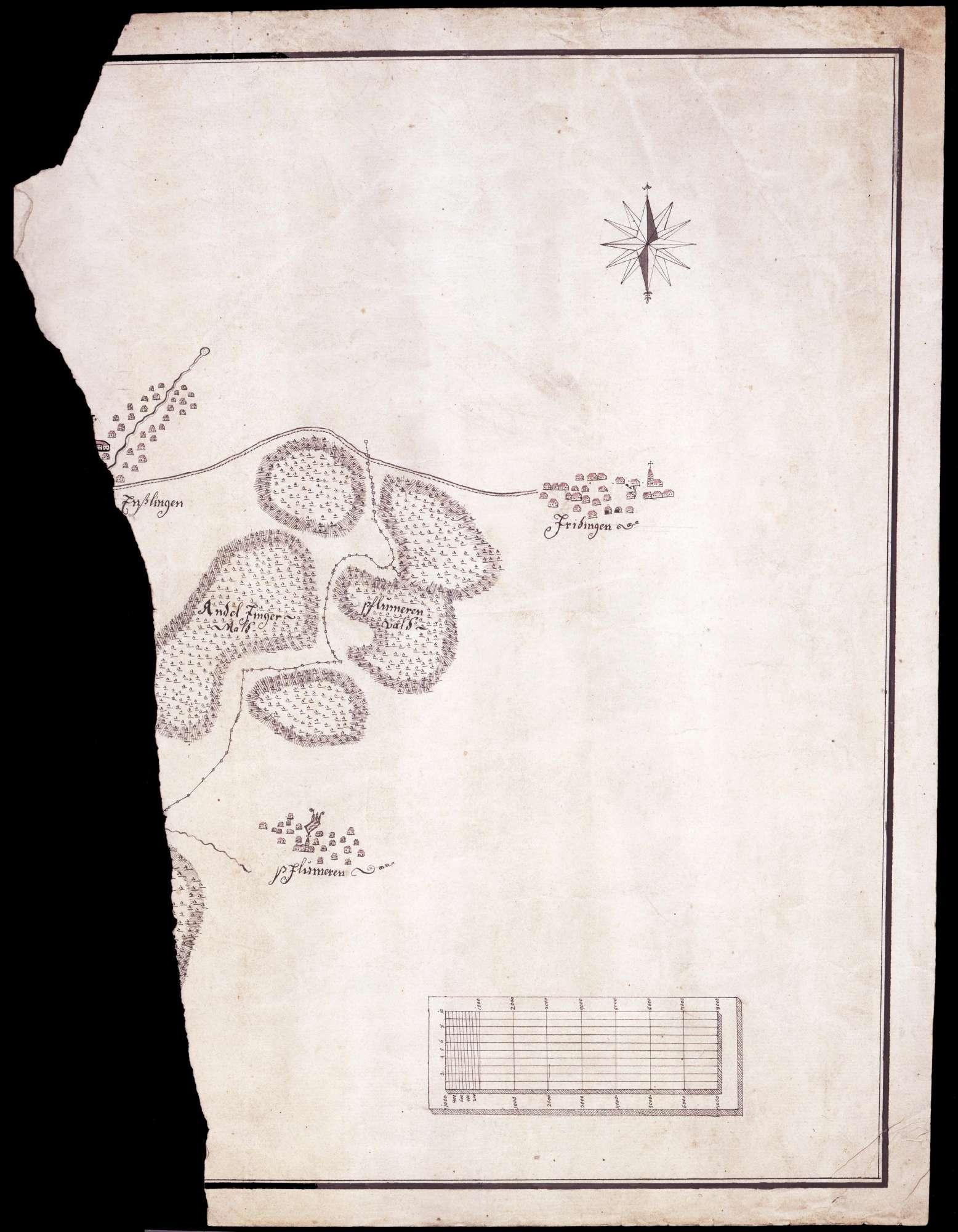 Bruchstück eines Lageplans von Friedingen, Pflummern und Langenenslingen, Bild 1