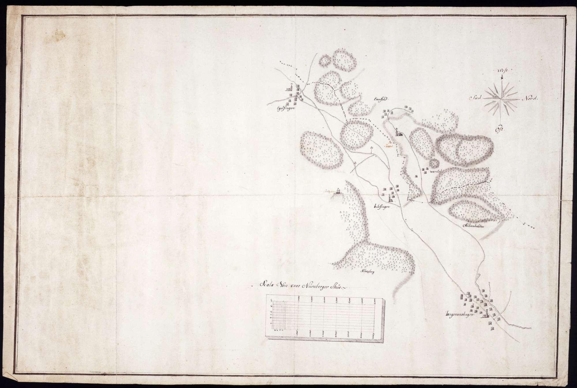 Lageplan von Langenenslingen, Billafingen, Egelfingen und Emerfeld, Bild 1
