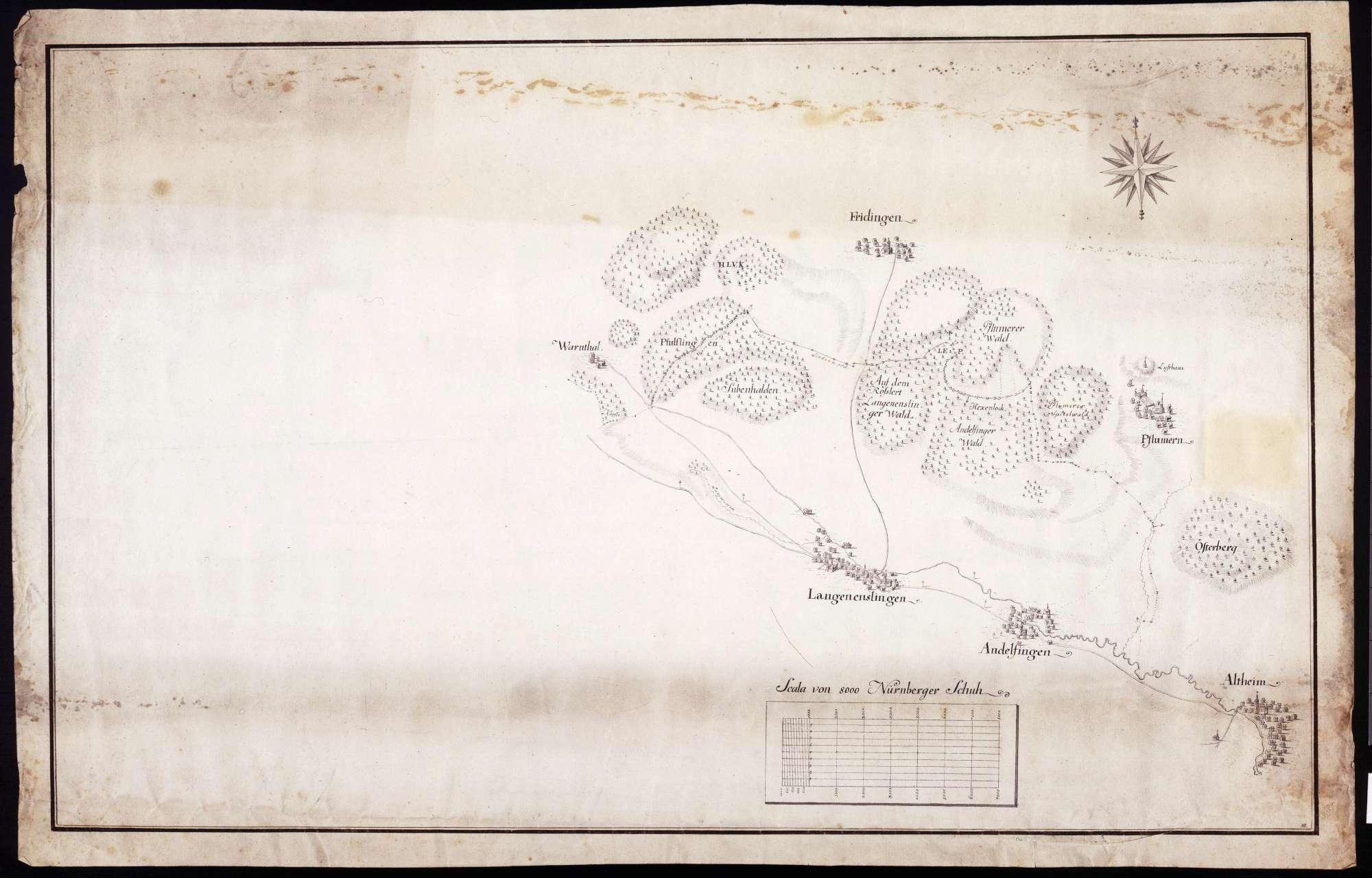 Lageplan von Altheim, Andelfingen, Langenenslingen, Warmtal (Warnthal), Friedingen und Pflummern, Bild 1