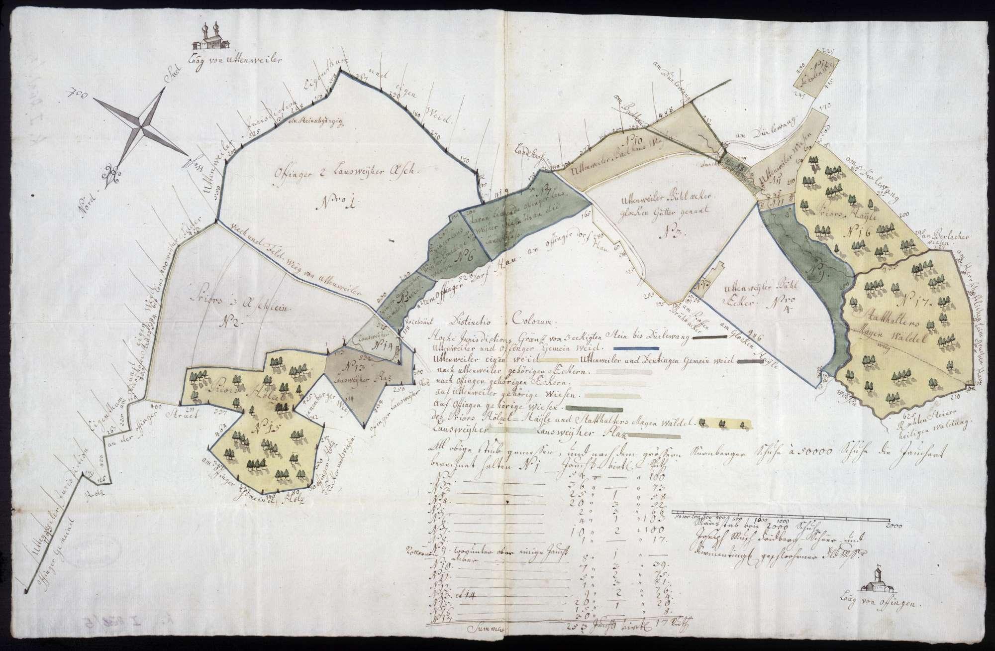 Geometrische Karte über die Vermessung und Abgrenzung der Wiesen und Äcker zwischen Uttenweiler und Offingen, Bild 1