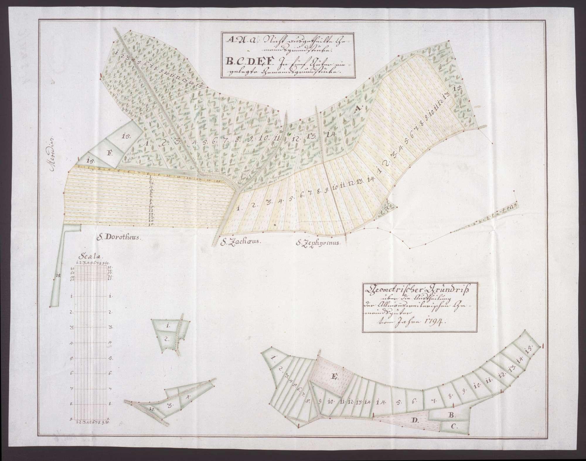 Geometrischer Grundriss über die Austeilung der Gemeindegüter von Allmannsweiler, Bild 1