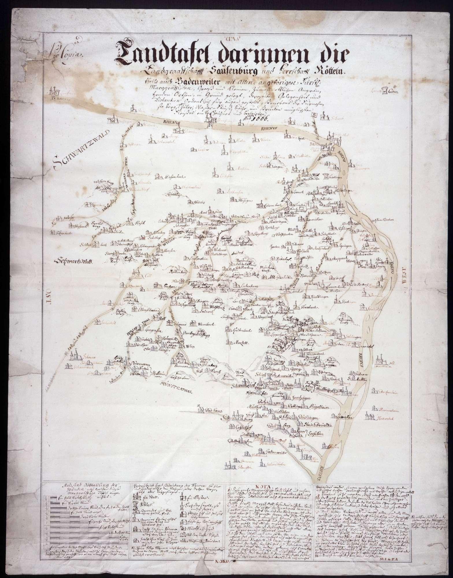 """""""Landtafel, darinnen die Landgrafschaft Sausenburg, die Herrschaft Rötteln und teils auch Badenweiler..."""" verzeichnet sind, Bild 1"""