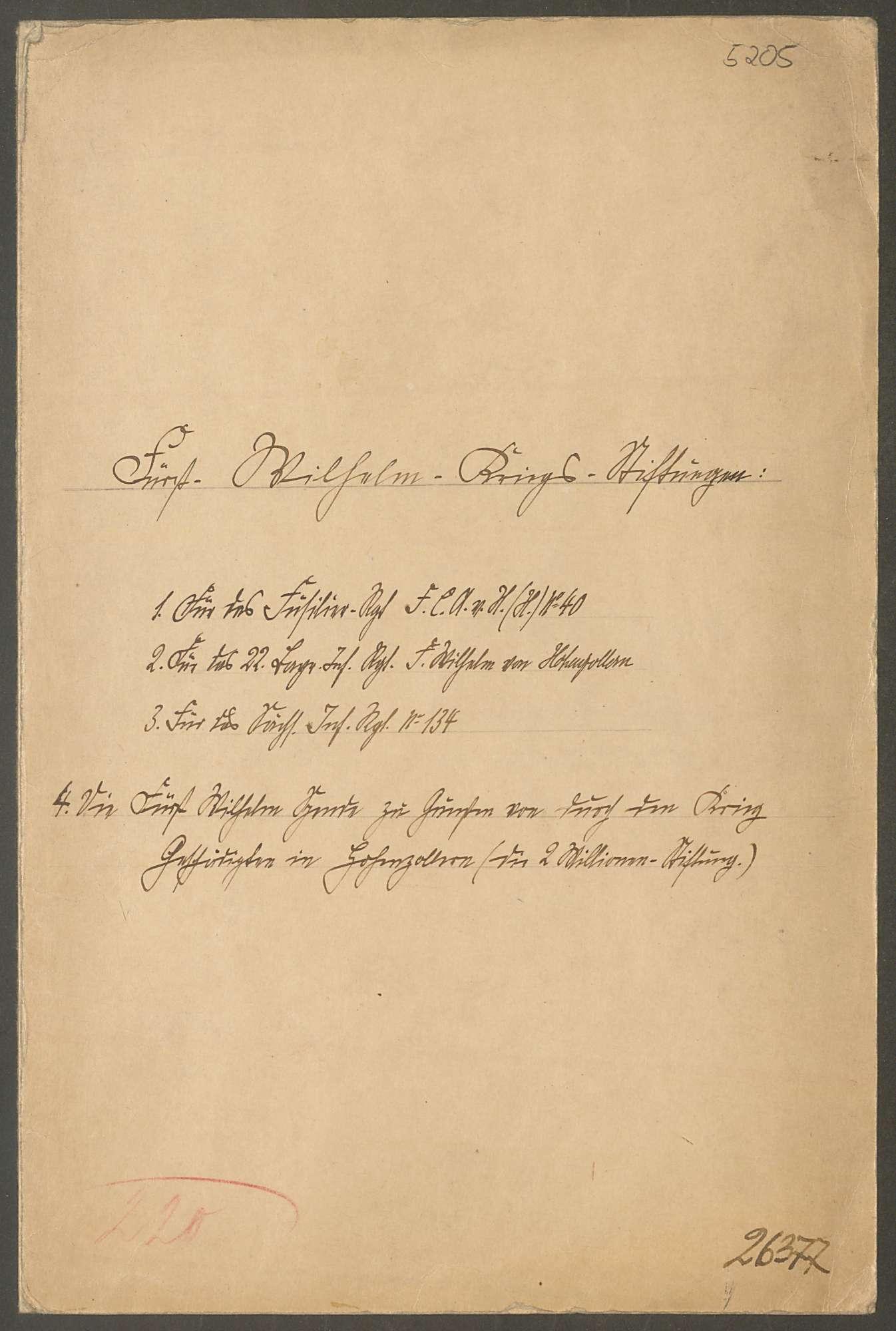 Fürst Wilhelm-Kriegs-Stiftungen, Bild 1