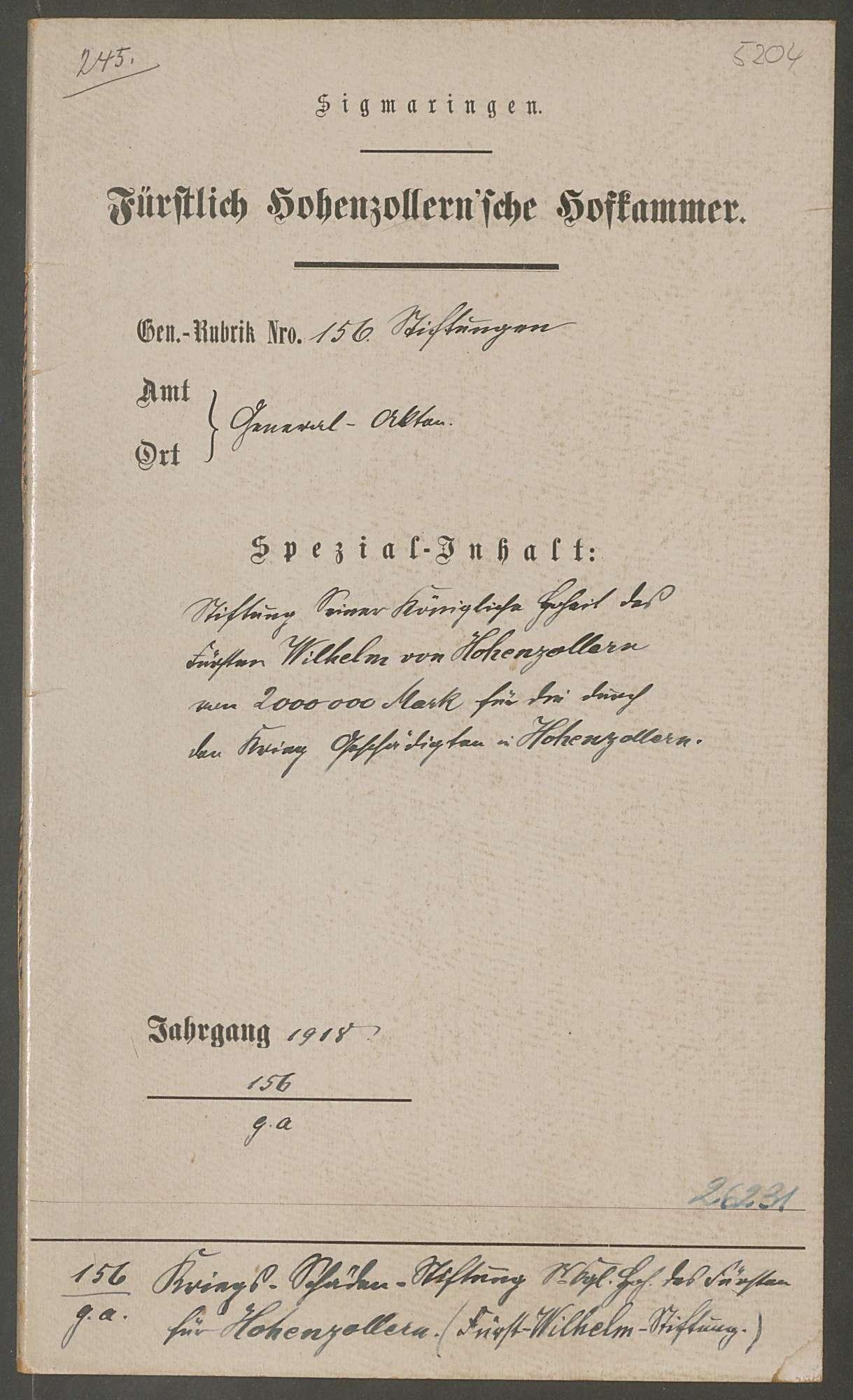 Stiftung des Fürsten Wilhelm von Hohenzollern von 2000000 Mark für die durch den Krieg Geschädigten in Hohenzollern, Bild 1