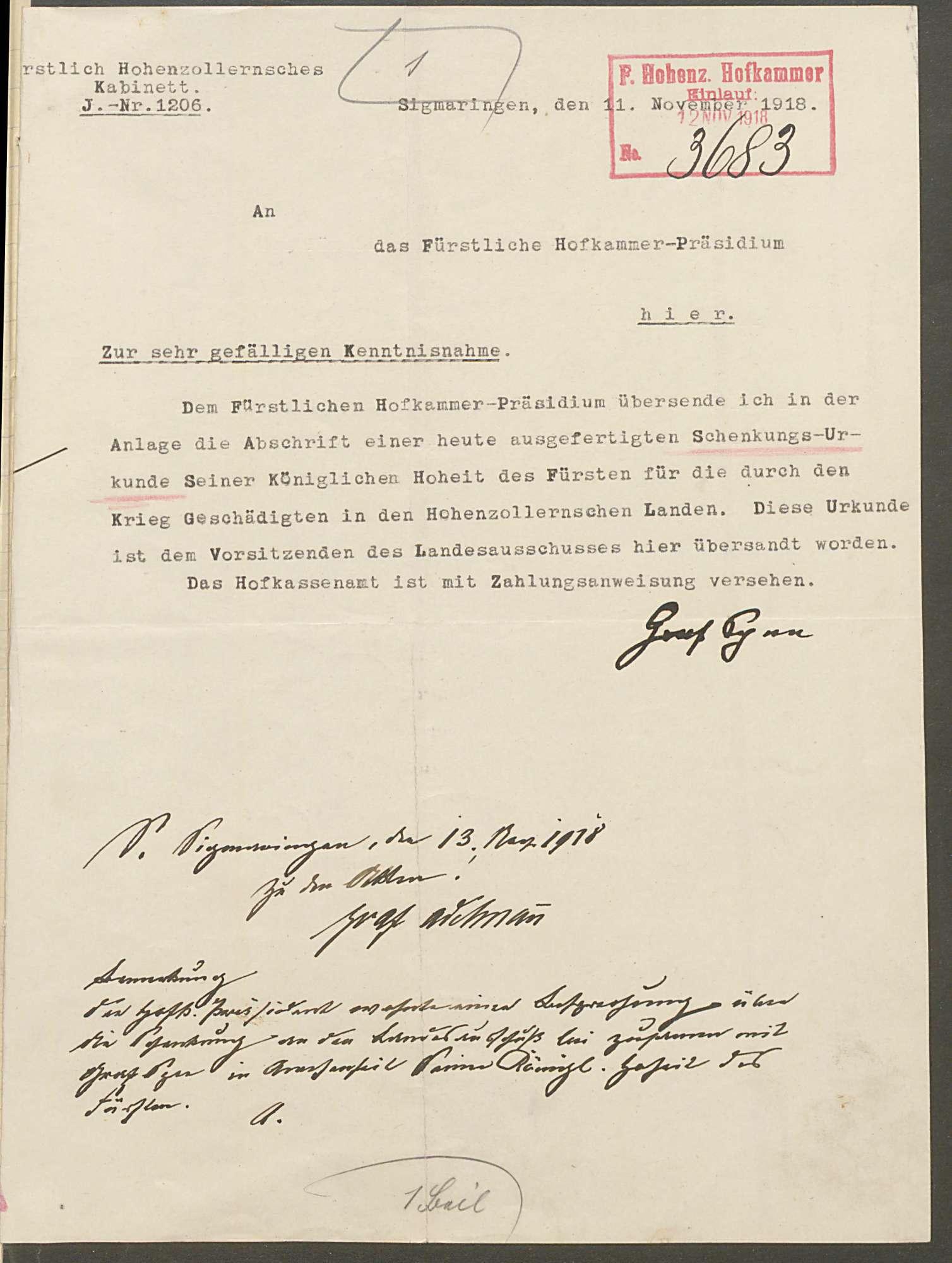 Stiftung des Fürsten Wilhelm von Hohenzollern von 2000000 Mark für die durch den Krieg Geschädigten in Hohenzollern, Bild 3