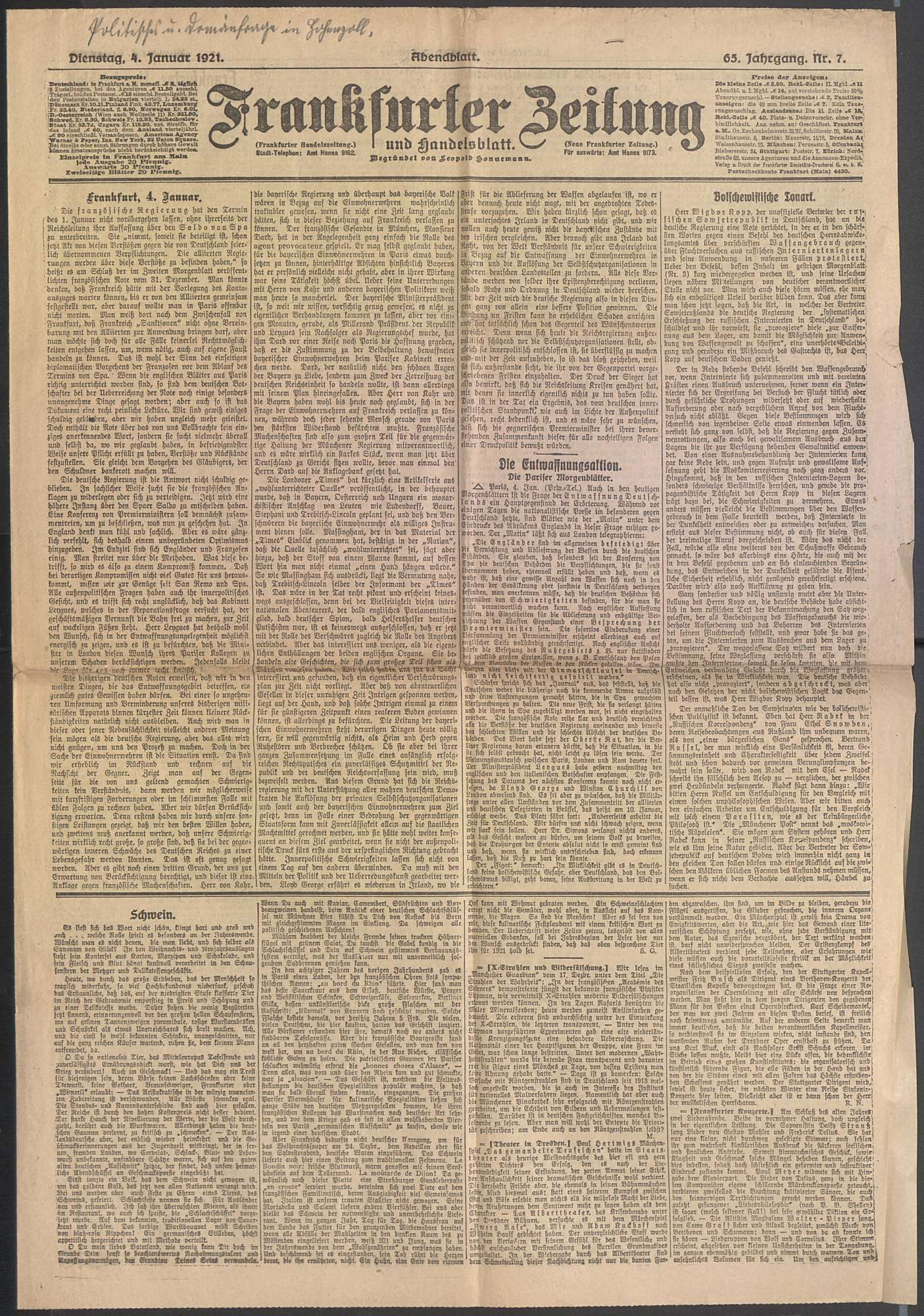 """Pressestimmen über die politische Umwälzung, speziell über die """"Domänenfrage in Hohenzollern"""", Bild 1"""