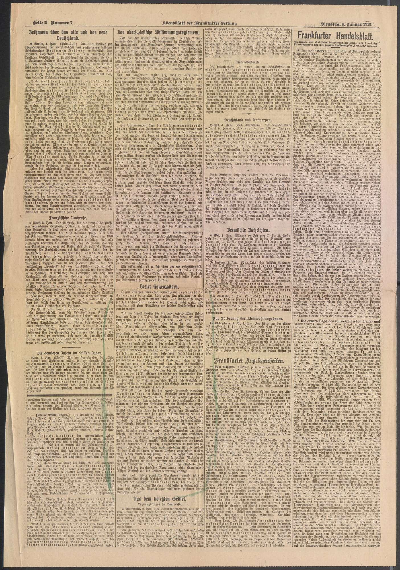"""Pressestimmen über die politische Umwälzung, speziell über die """"Domänenfrage in Hohenzollern"""", Bild 2"""