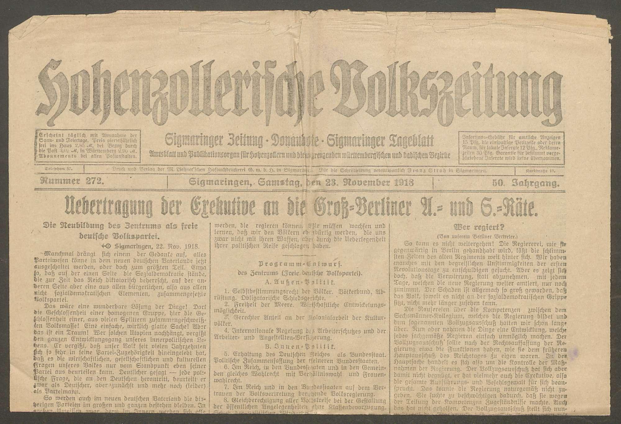 Politische Umwälzungen in Deutschland und Österreich und ihr Einfluss auf das Fürstliche Haus und die Fürstliche Verwaltung, Bild 2