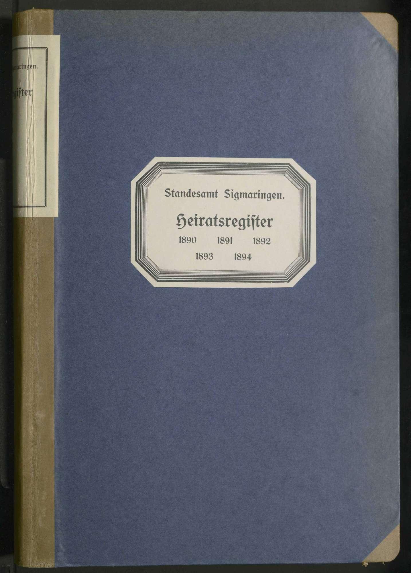Heiratsregister Sigmaringen, Bild 1