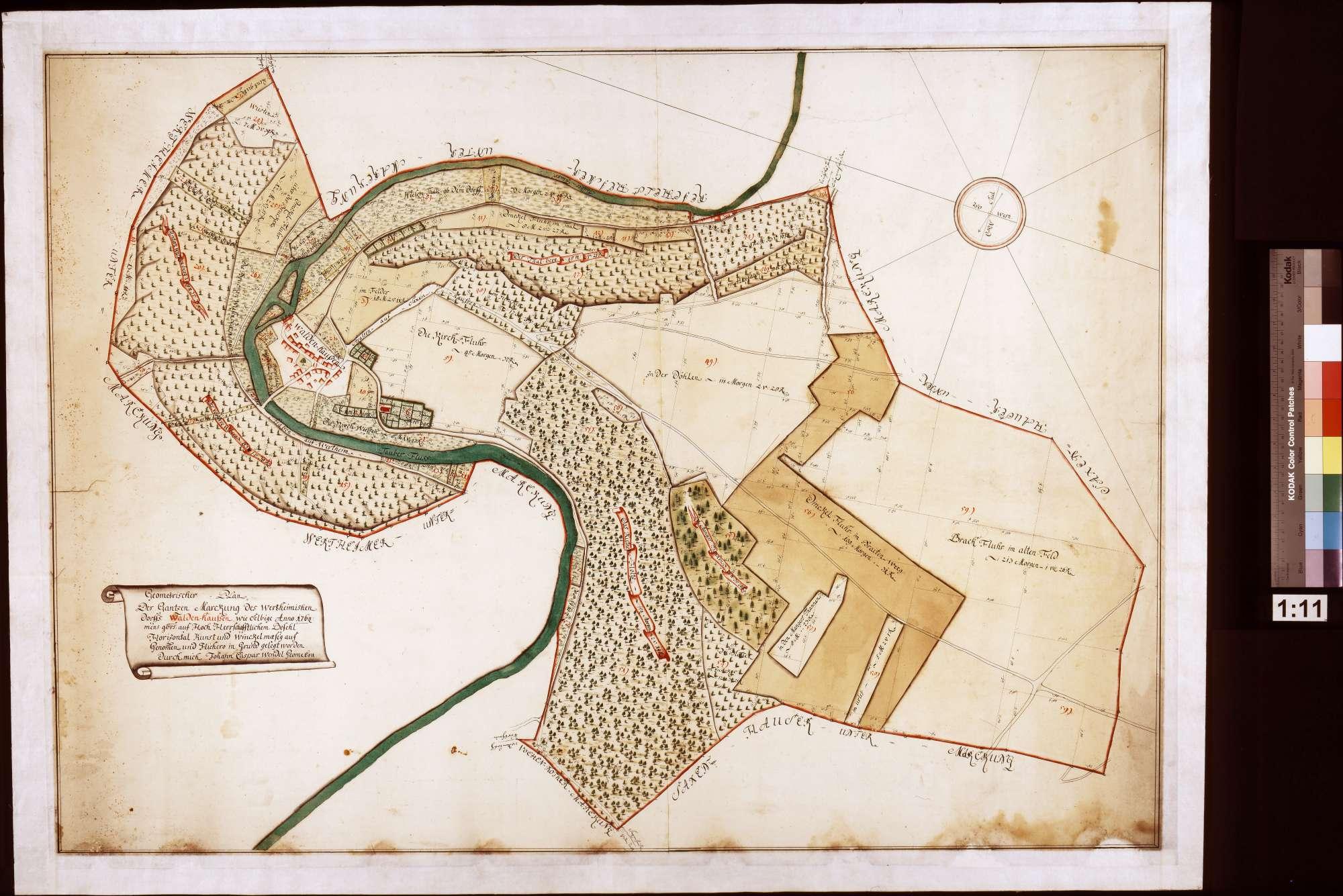 Geometrischer Plan der ganzen Markung des wertheimischen Dorfs Waldenhausen, wie selbige Anno 1764 Mens[e] [Novem]br[i]s auf hochherrschaftlichen Befehl horizontalkunst- und winkelmäßig aufgenommen und hiehero in Grund gelegt worden (Inselkarte), Bild 1