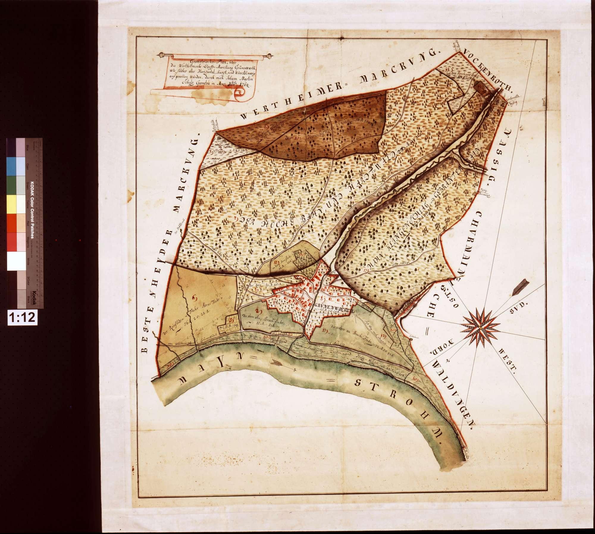 Geometrischer Plan über die wertheimische Dorfsmarkung Grünenwört, wie solches alles horizontalkunst- und winkelmäßig aufgenommen worden (Inselkarte), Bild 1