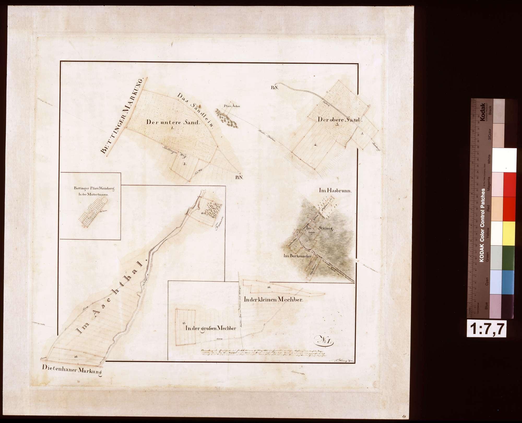 [Fluratlas gemeinherrschaftlicher Grundstücke auf Gemarkung Dertingen] Blatt No. I (Hauptkarte mit 3 Nebenkarten), Bild 1